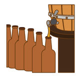 Beer bottles filling up icon. Illustration Stock Photography
