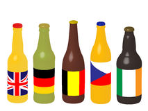 Beer Bottles with Flags 3D Royalty Free Stock Images