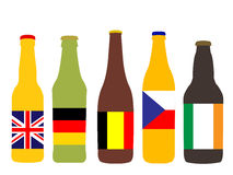 Beer Bottles with Flags Royalty Free Stock Image