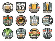 Beer bottles, glasses and barrels. Brewery or pub. Beer drink vector badges of brewery, pub, bar or beerhouse. Bottle and glass of craft beer, ale or lager mugs stock illustration