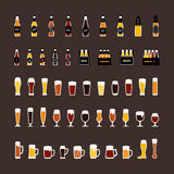 Beer bottles and glasses colored icons set in flat style. Vector Royalty Free Stock Image