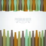 Beer bottles with glasses design background. 10 EPS Royalty Free Stock Images