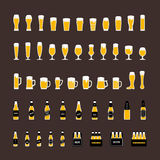Beer bottles and glasses icons set in flat style. Vector Stock Photo