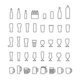 Beer bottles and glasses line icons set. Vector Stock Images