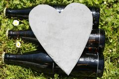 Beer bottles with heart, happy father´s day. Love royalty free stock photography