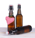 Beer bottles with heart Stock Photo