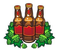 Beer bottles and hop Stock Photography