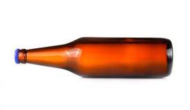 Beer bottles horizontally isolated white background Royalty Free Stock Photography