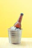 Beer bottles in ice bucket stock photos