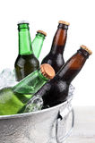 Beer Bottles in Ice Bucket Closeup royalty free stock photo