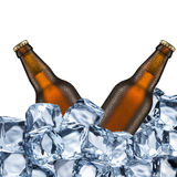 Beer Bottles and Ice Cubes Royalty Free Stock Photos