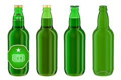 Beer bottles with label, full and empty. 3D rendering. Isolated on white background Stock Photography