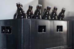 Beer bottles in an old plastic box. Beer bottles in an old plastic box in the storage room Stock Images