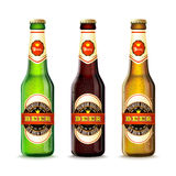 Beer Bottles Set Stock Photos