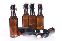 Beer bottles standing and lying isolated Royalty Free Stock Photo