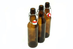 Beer bottles. With stoppers on white Stock Photo