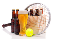 Beer Bottles with Tennis Racket and Ball Royalty Free Stock Photography