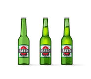 Beer bottles vector illustration isolated on white. Beer bottles vector illustration, realistic empty beer bottle, full beer bottle and cold beer bottle isolated Stock Photo