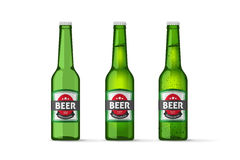 Beer bottles vector objects , realistic full cold and empty green beer bottle. Beer bottles vector objects on white background, realistic full cold and empty royalty free illustration