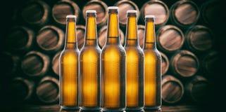 Beer bottles on wooden barrels background. 3d illustration. Set of unopened beer bottles in a brewery, wooden barrels background. 3d illustration Stock Photo