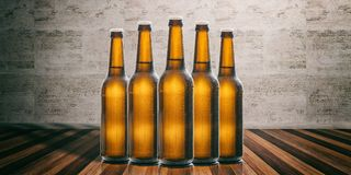 Beer bottles on a wooden floor, stone wall background. 3d illustration. Set of unopened beer bottles on a wooden floor, stone wall background. 3d illustration stock illustration