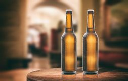 Beer bottles on a wooden table, abstract bar background. 3d illustration. Two unopened beer bottles on a wooden table, abstract bar background. 3d illustration Royalty Free Stock Image