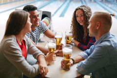 Beer after bowling Royalty Free Stock Photography