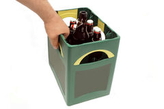 Beer box. Hand holding a beer box with beer bottles Royalty Free Stock Images