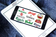 Beer brands icons. Logos and brands of most popular beer brands and producers on samsung mobile royalty free stock photos