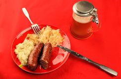 Beer and Bratwurst Royalty Free Stock Photography