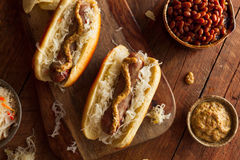 Beer Bratwurst with Sauerkraut Stock Images