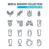 Beer and bravery collection line icons set on the Stock Images