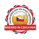 Beer Brewed in Czech Republic - printable sticker / label. Beer Brewed in Czech Republic. Handcrafted with the finest ingredients - sticker advertising for pubs vector illustration