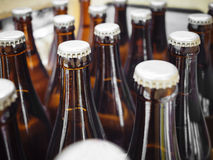Beer Breweries packaging Bottles with cap close up Stock Image