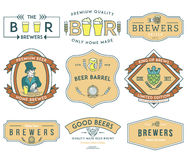 Beer Brewers Badges Colored Royalty Free Stock Image