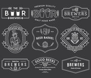 Beer Brewers Badges White on Black Royalty Free Stock Photography