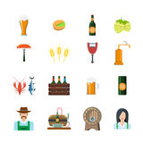 Beer brewery flat icon set concept flat vector Royalty Free Stock Photography