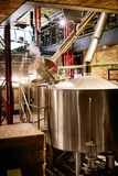 Beer Brewery With Modern Equipment. Craft Beer Brewing System On Manufacture. High Resolution royalty free stock photo