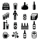 Beer, brewery, pub vector icons set Stock Photography