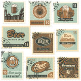 Beer and brewery. Set of postal stamps on theme of beer and brewery Royalty Free Stock Images