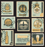 Beer and brewery. Set of postal stamps on theme of beer and brewery Royalty Free Stock Photos