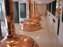 Beer brewery tanks. Interior Brewery tanks for cooking beer Royalty Free Stock Photography