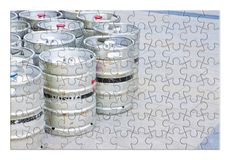 Beer brewing - concept image in puzzle shape.  stock images