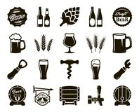 Beer, brewing, ingredients, consumer culture. set of black icons Royalty Free Stock Photography