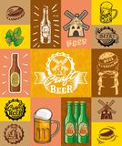 Beer, brewing, ingredients, consumer culture. set of simple color illustrations Royalty Free Stock Photos