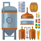 Beer brewing process alcohol factory production equipment mashing boiling cooling fermentation vector illustration. Royalty Free Stock Images