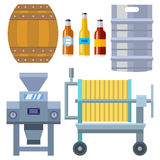 Beer brewing process alcohol factory production equipment mashing boiling cooling fermentation vector illustration. Stock Image
