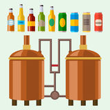 Beer brewing process alcohol factory production equipment mashing boiling cooling fermentation vector illustration. Royalty Free Stock Image