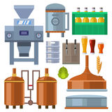 Beer brewing process alcohol factory production equipment mashing boiling cooling fermentation vector illustration. Stock Images