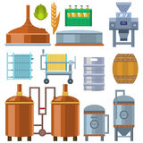Beer brewing process alcohol factory production equipment mashing boiling cooling fermentation vector illustration. vector illustration